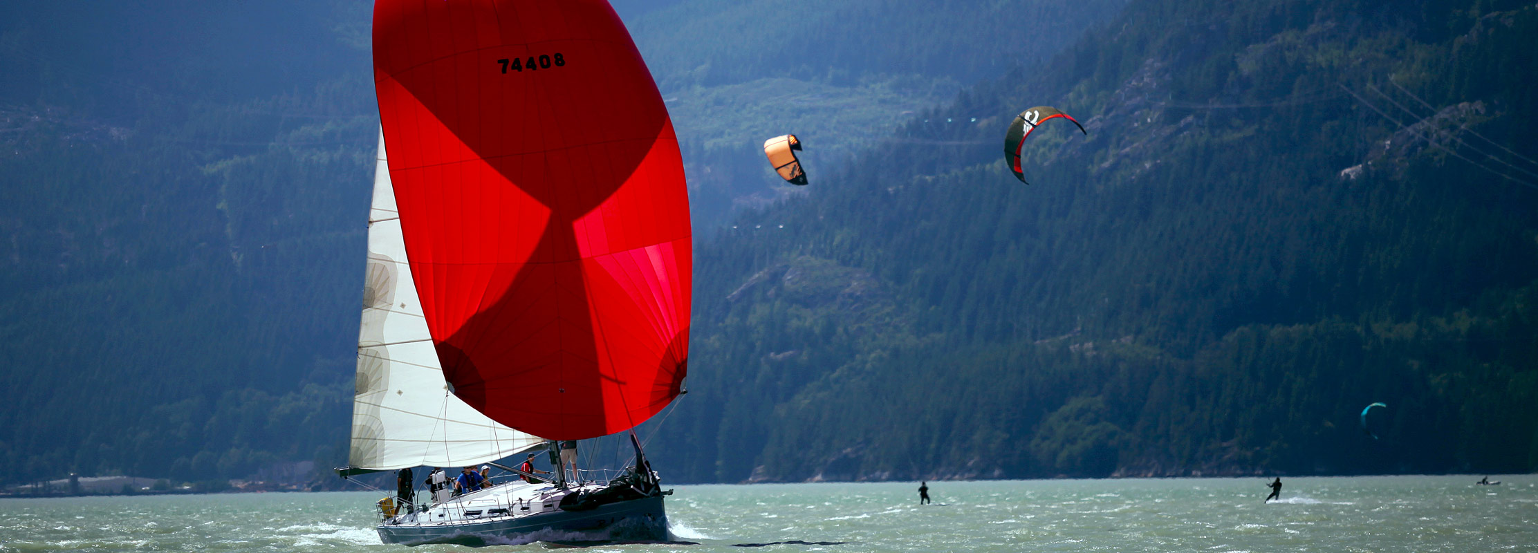 Sailing in Squamish BC with Kiteboarders