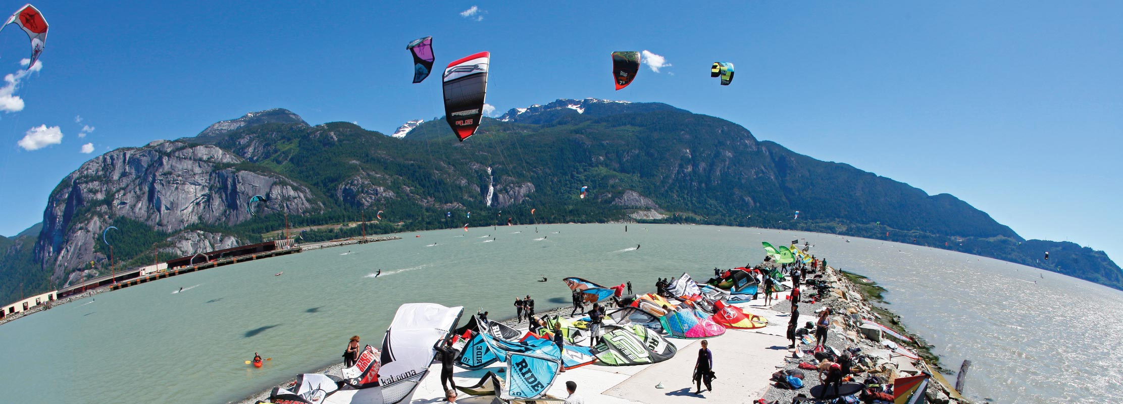 Kiteboarders at Squamish Spit