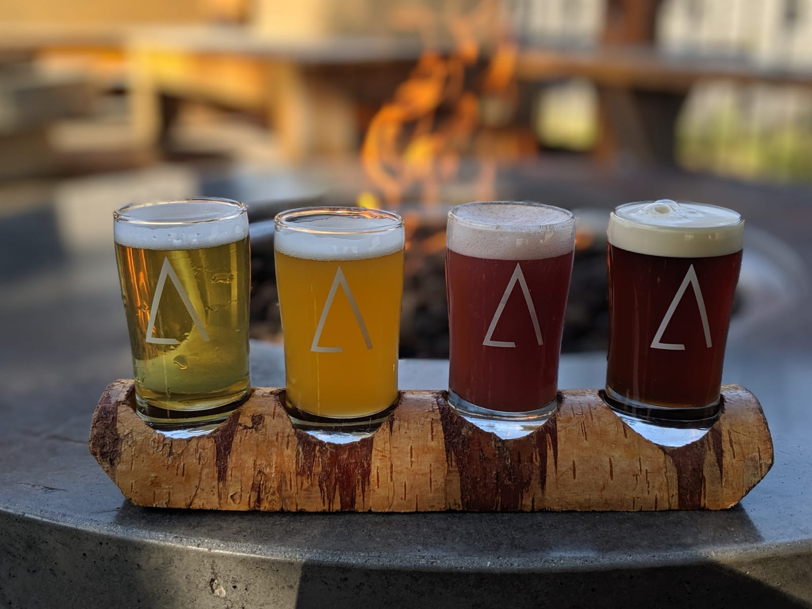 A flight of A-Frame beers